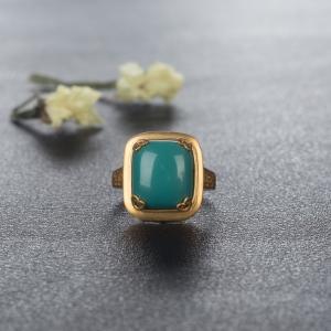18K高瓷蓝绿绿松石方形戒指