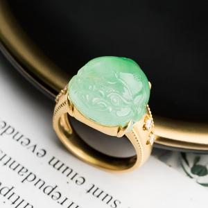18K冰种浅绿翡翠金蟾戒指