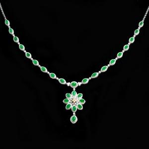 18K冰种阳绿翡翠项链