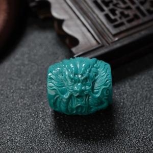 中高瓷蓝绿绿松石辰龙桶珠