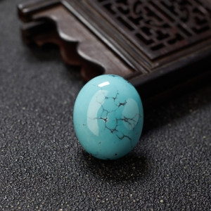 高瓷铁线蓝绿绿松石蛋面形戒面