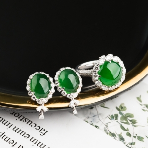 18K冰種陽綠翡翠耳釘/戒指套裝
