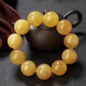 24.5mm雞油黃蜜蠟單圈手串