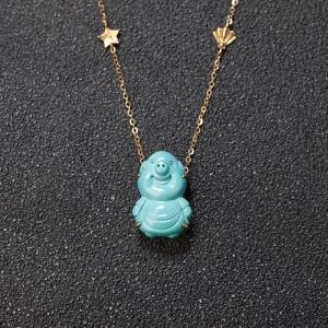 18K中高瓷蓝绿绿松石小猪项链