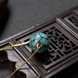 18K高瓷铁线蓝绿绿松石圆珠项链