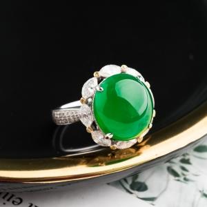 18K冰种阳绿翡翠戒指