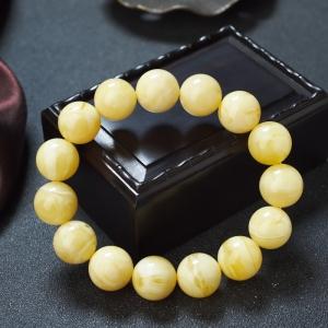 14.5mm白花蜜蠟單圈手串