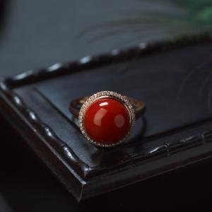 18K阿卡珊瑚圓珠戒指