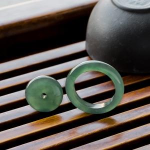 冰种晴水翡翠平安扣/指环套装