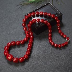 阿卡牛血紅珊瑚桶珠塔鏈