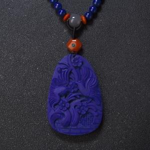 紫藍色青金石雙喜臨門吊墜