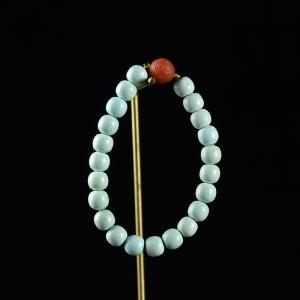 中高瓷蓝蓝色绿松石老形珠手串