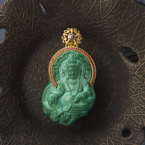 18K中高瓷綠色綠松石黃財神吊墜
