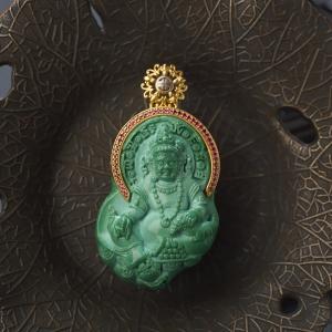 18K中高瓷绿色绿松石黄财神吊坠