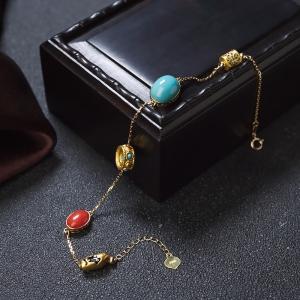 18K高瓷蓝绿绿松石手链