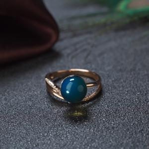 18K天空蓝多米蓝珀圆珠戒指