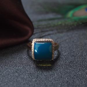 18K天空藍多米藍珀方形戒指