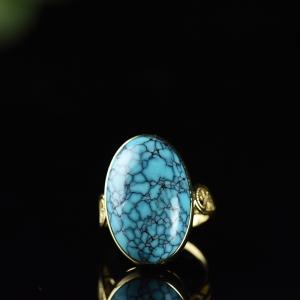 18K高瓷藍色烏蘭花戒指