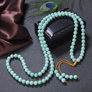 7.5mm中高瓷铁线蓝绿绿松石108佛珠