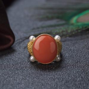 18KMOMO珊瑚戒指