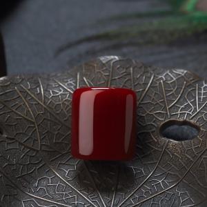 阿卡牛血红珊瑚方形戒面