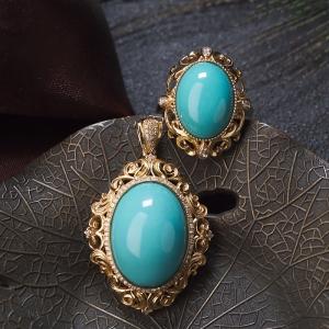 18K高瓷蓝绿松石戒指/吊坠套装