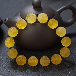 13mm雞油黃金絞蜜回紋珠單圈手串