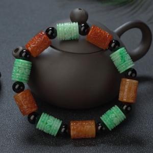 糯种翡翠雕刻桶珠单圈手串