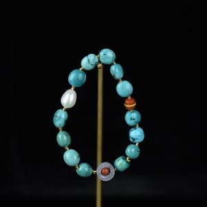 高瓷蓝蓝色绿松石随形手串