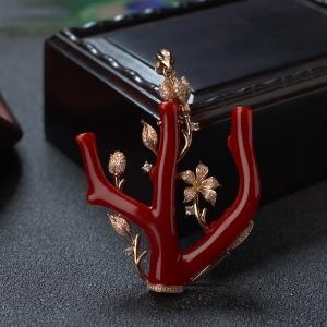 18K阿卡牛血红珊瑚树枝吊坠