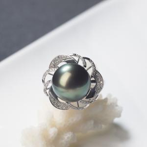 18K海水孔雀绿色珍珠戒指