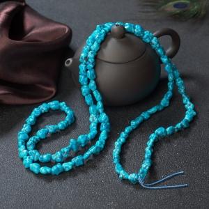 高瓷铁线蓝绿松石随形多圈手串