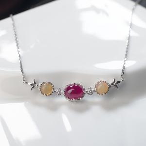18K鸽血红红宝石项链