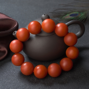 19.5mm柿子紅南紅單圈手串