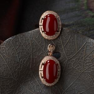 18K阿卡牛血紅珊瑚戒指/吊墜套裝