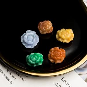 糯冰种翡翠花配件(5件)