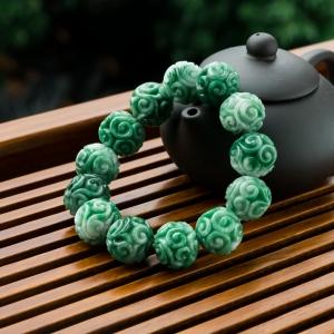 糯冰种深绿翡翠缠枝纹单圈手串