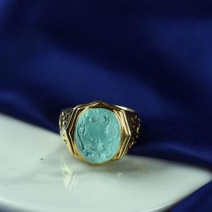 18K高瓷藍色綠松石守護戒指