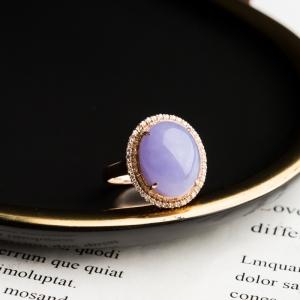 18K糯冰種紫羅蘭翡翠戒指