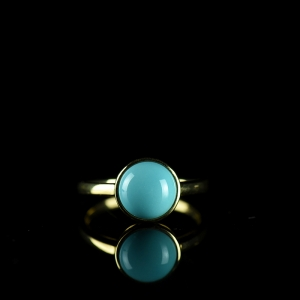 18K高瓷蓝色绿松石戒指