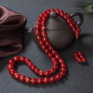 阿卡牛血红珊瑚桶珠塔链