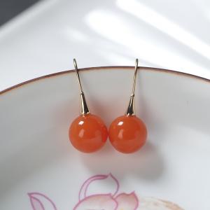 18K櫻桃紅南紅圓珠耳環