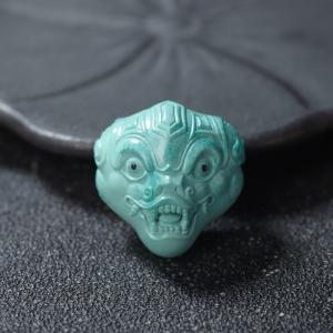 中高瓷蓝绿绿松石兽面三通