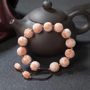 深水珊瑚莲花珠单圈手串