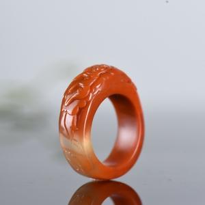 冰飄南紅花開富貴指環