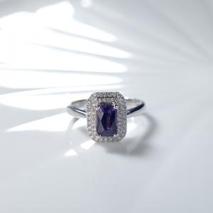 18K無燒紫色藍寶石戒指