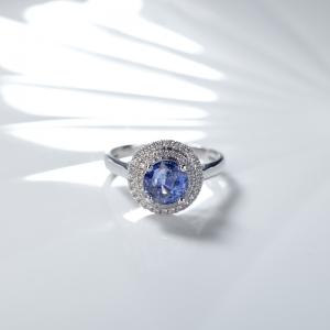 18K無燒藍色藍寶石戒指