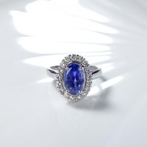 PT無燒藍色藍寶石戒指