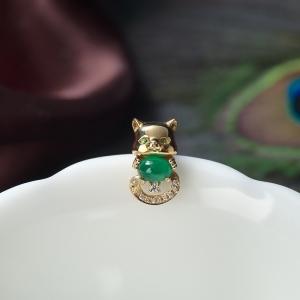 18K鮮綠祖母綠貓咪吊墜