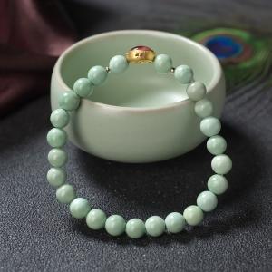 6.5mm中高瓷铁线绿色绿松石单圈手串